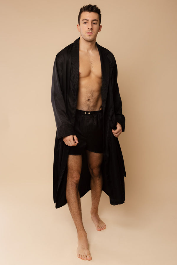 Men's Woburn Black Silk Robe | Derek Rose | Anya Lust