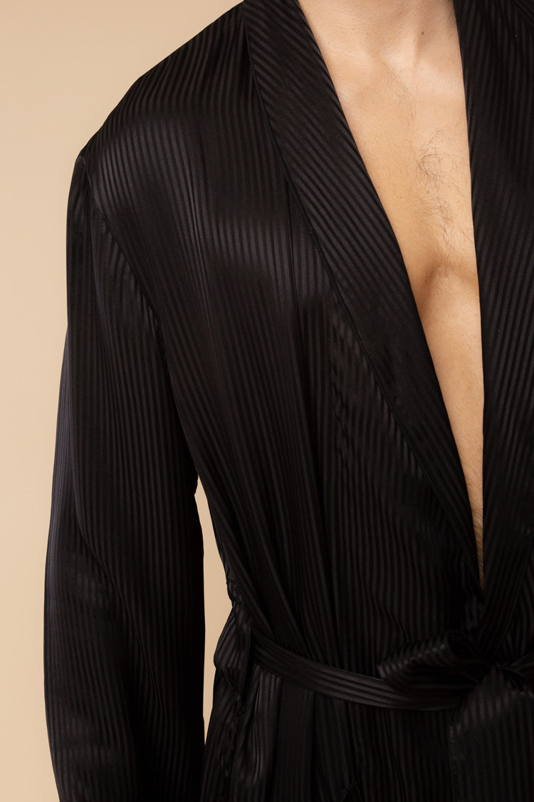 Men's Woburn Black Silk Robe | Derek Rose | Anya Lust Boutique