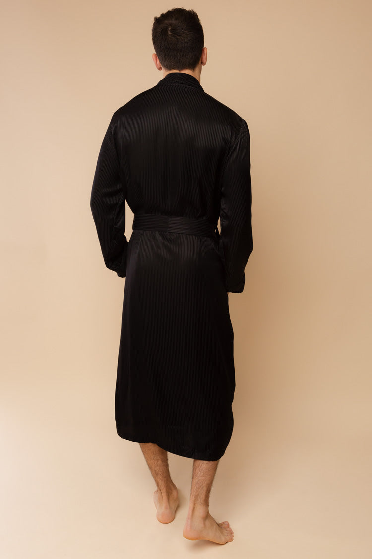 Men's Woburn Black Silk Robe