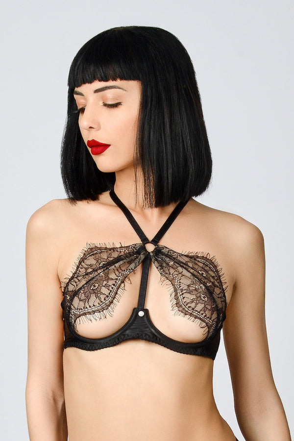 ELF ZHOU Meteorite Black Lace Open Bra