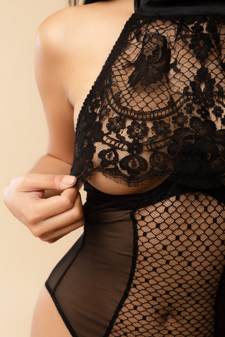 Obsidian Open Bodysuit | Coco de Mer London | Anya Lust