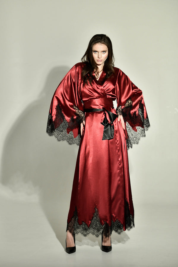 Old Hollywood Glamour Long Silk Robe