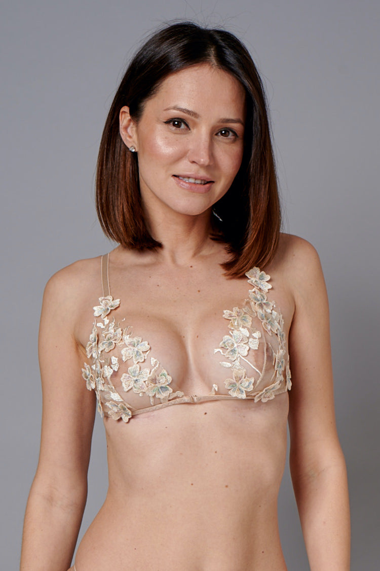 Ornella Gold Sheer Bra with 3D Flowers
