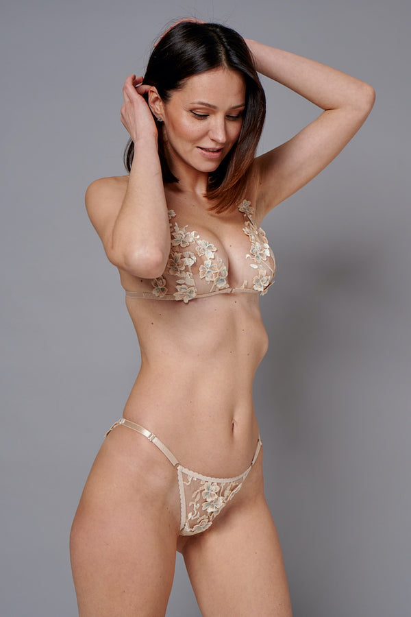 Ornella Gold Sheer Panty with 3D Flowers