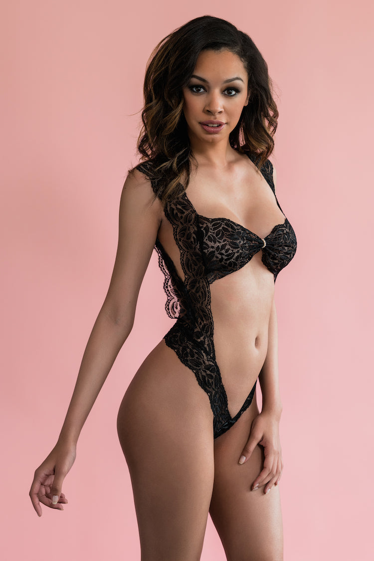 Paris Pearl Lace Bodysuit Black - Anya Lust Lingerie