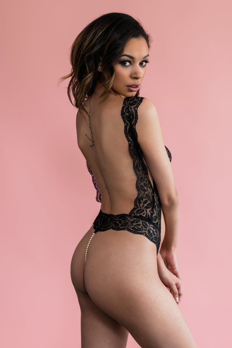 Paris Pearl Lace Bodysuit Black - Anya Lust