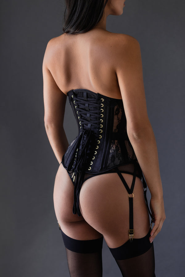 Perle Custom Corset with Garters - Anya Lust Luxury Lingerie Boutique