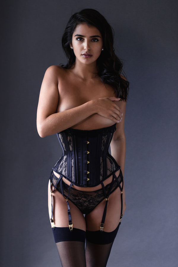 Perle Custom Corset with Garters - Anya Lust Luxury Lingerie
