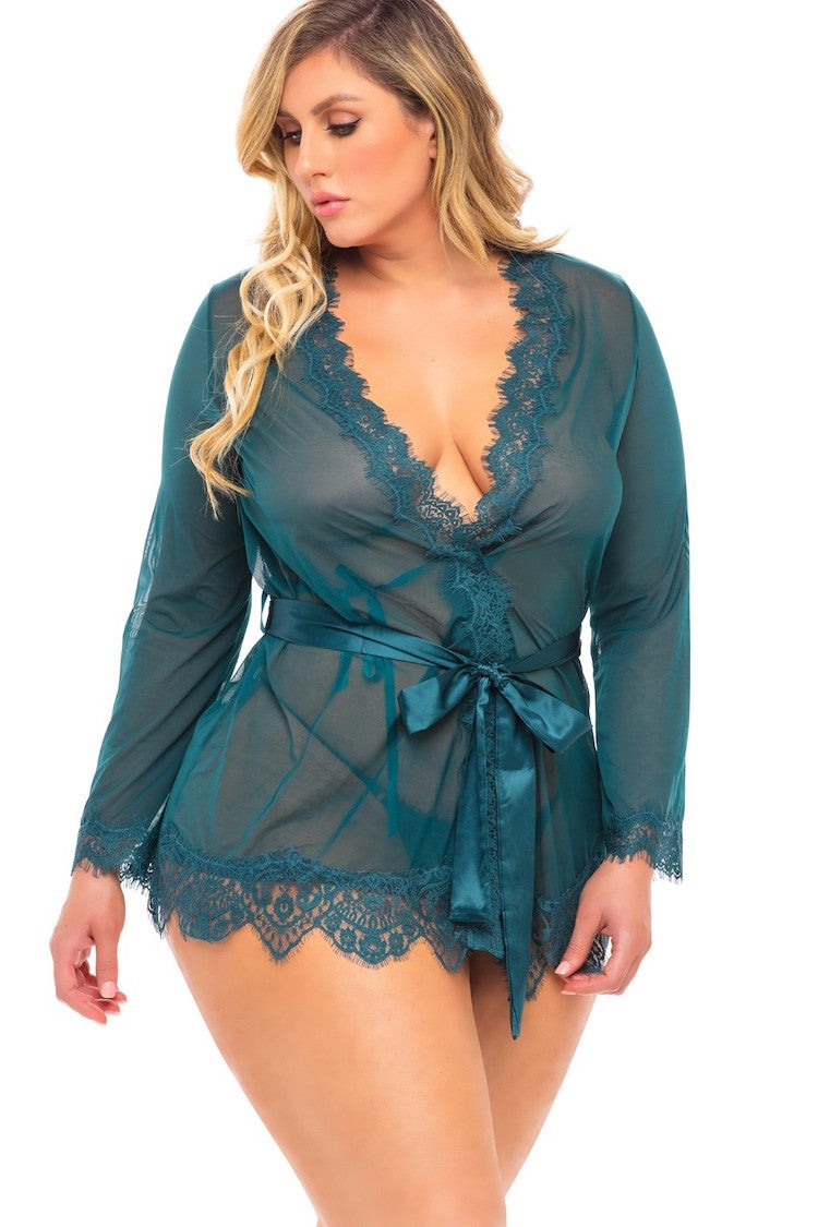 Provence Plus Size Sheer Robe
