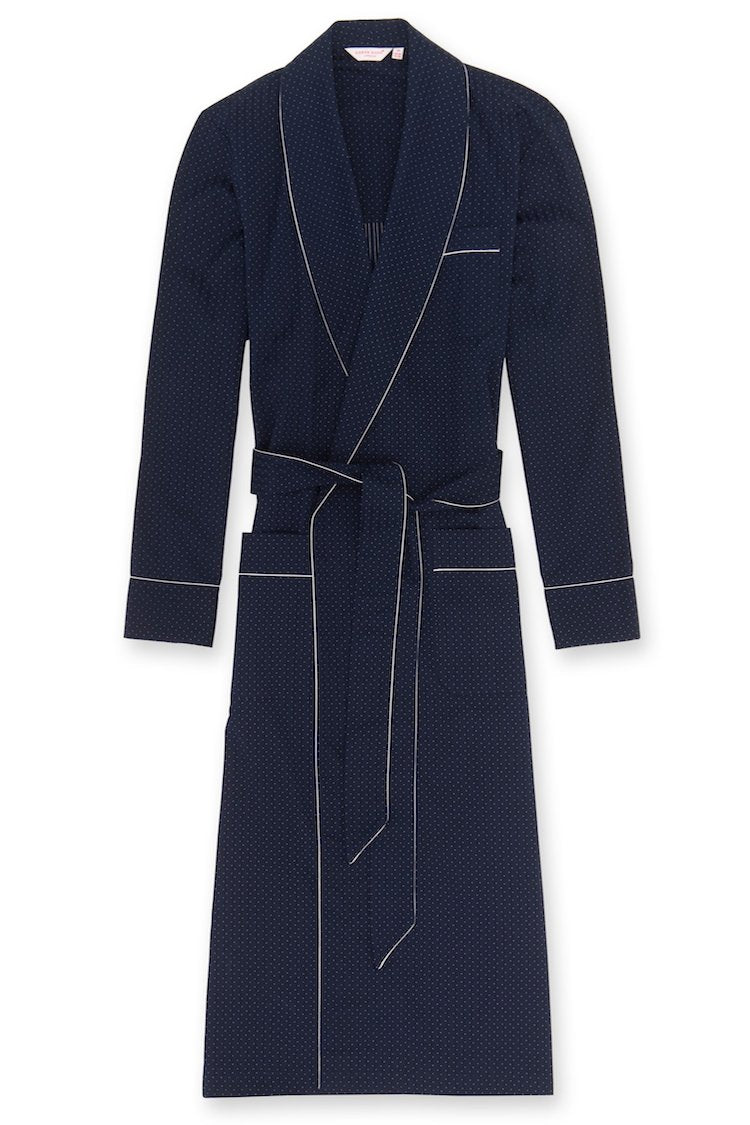 Royal Satin Stripe Men's Piped Robe Navy