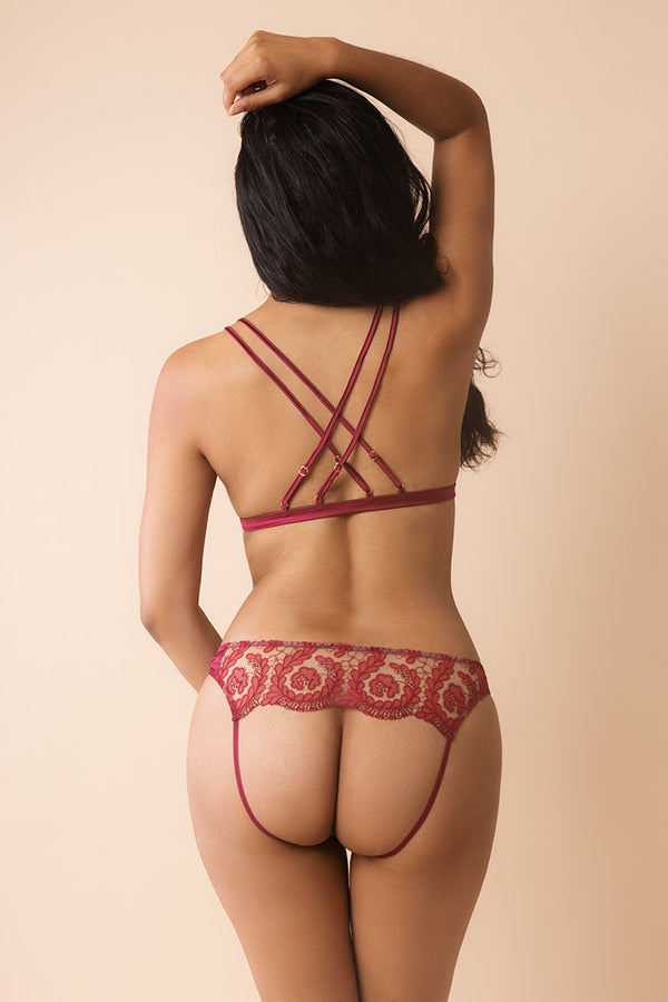 Rubellite Open Triangle Bra and Panty | Coco de Mer | Anya Lust