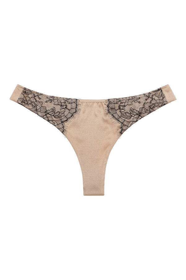 Sandra Signature Silk Thong with French Chantilly Lace