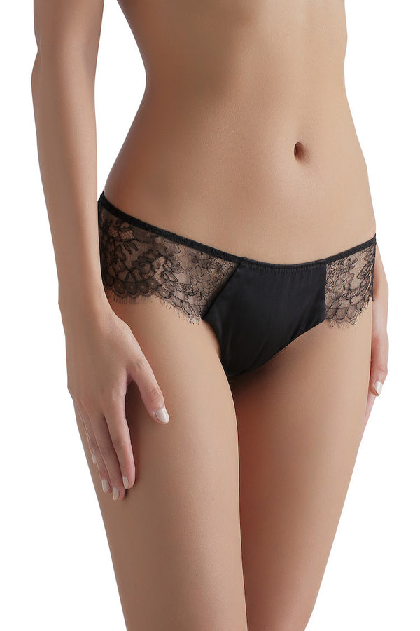 Sandra Signature Silk and Chantilly Lace Panty | Silk Underwear