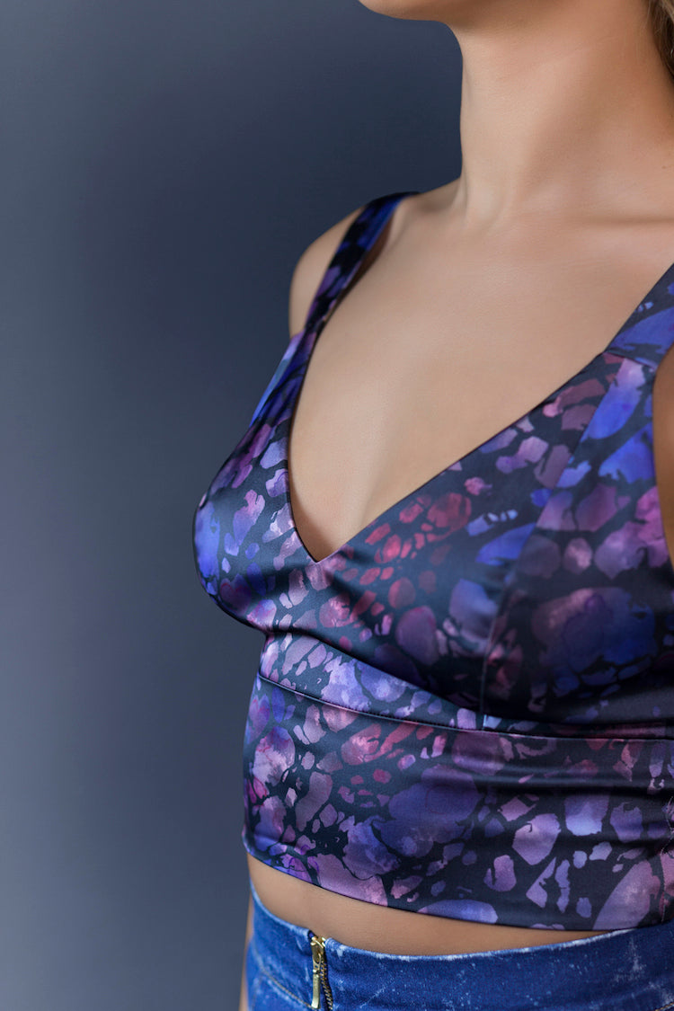 Satin Candy Bra Top Dark Print
