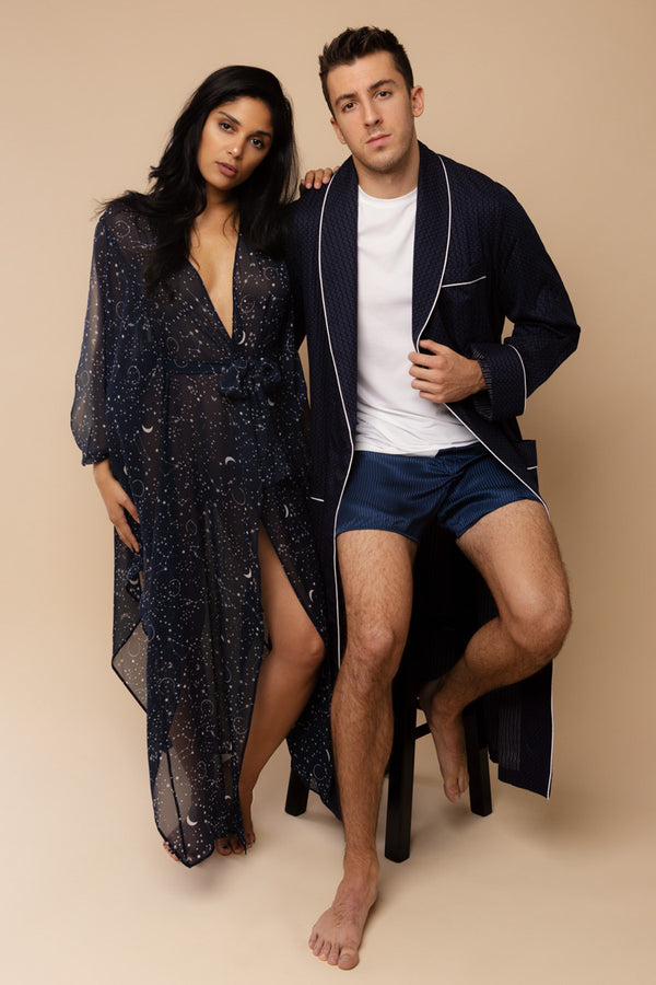Stars Aligned Navy His & Hers Robes | Anya Lust