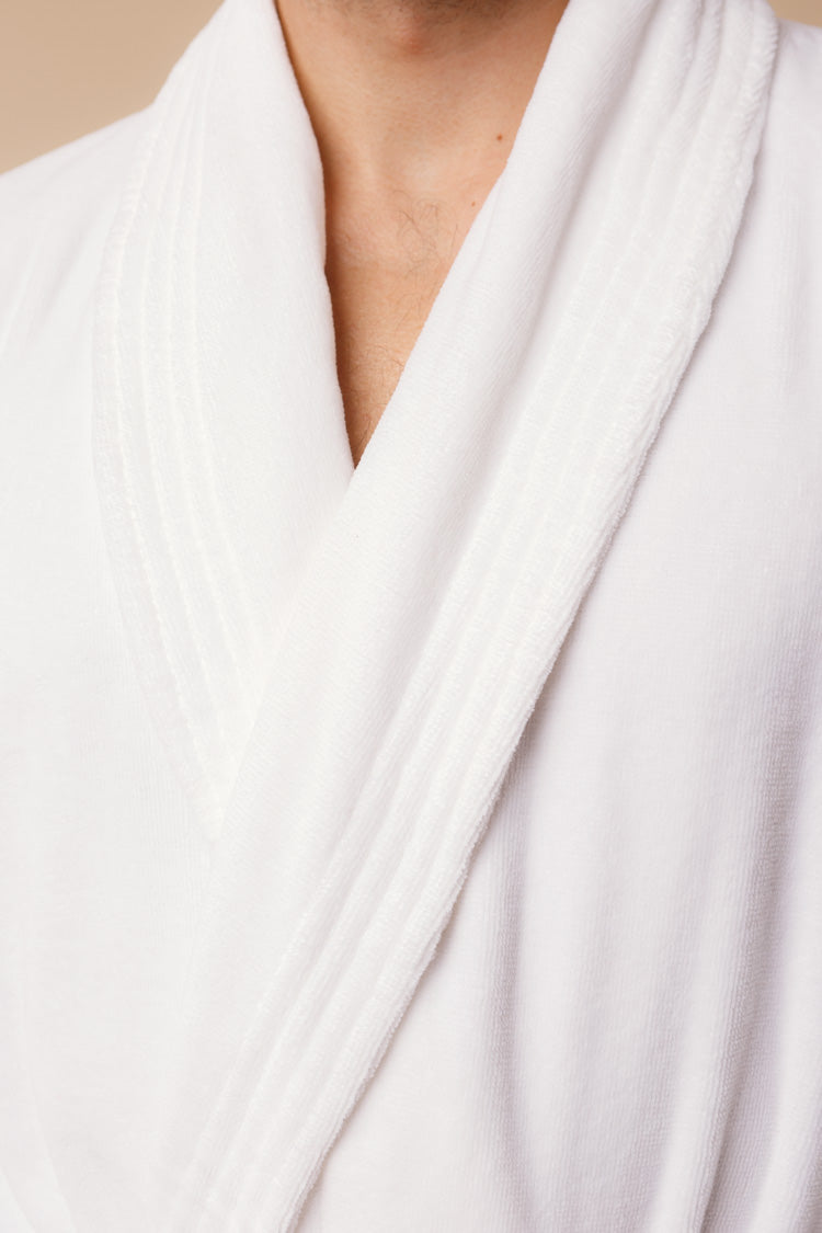 Triton Men's Bathrobe | Derek Rose Towelling Robe | Shop Anya Lust