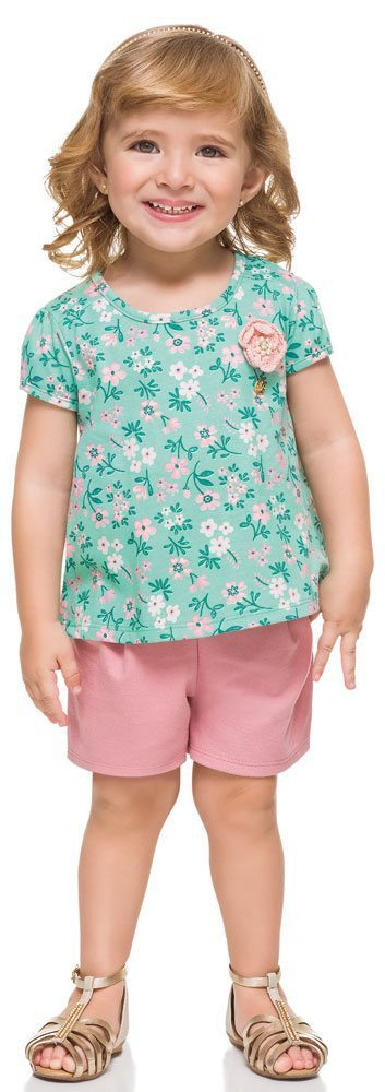 Girl's 2PC's Clothes Set Short Sleeve Floral O Neck Blouse and Short