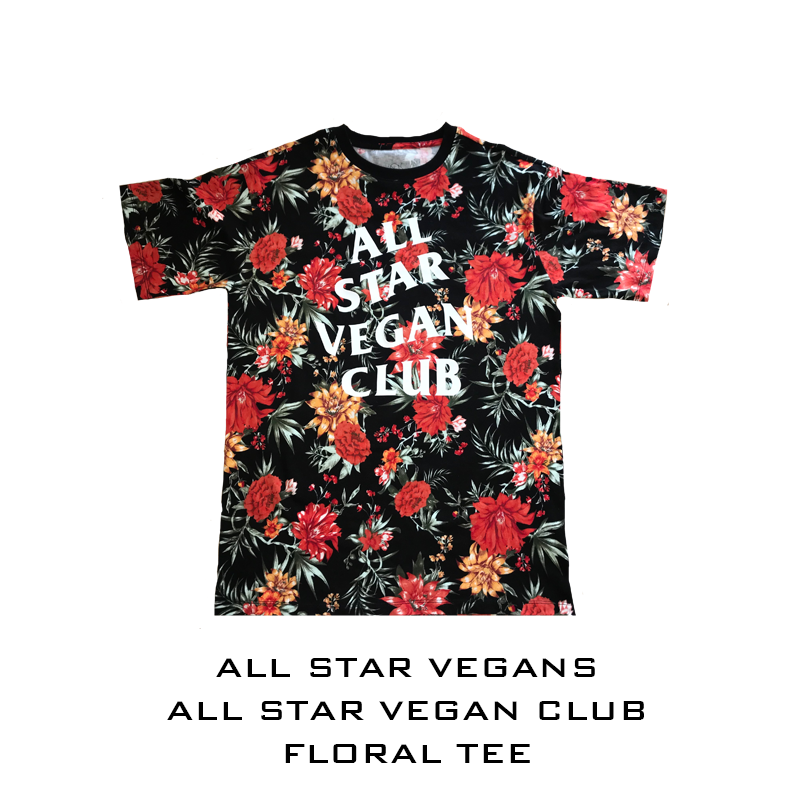 All Star Vegan Club Floral Short-Sleeve Unisex T-Shirt - AllStarVegans