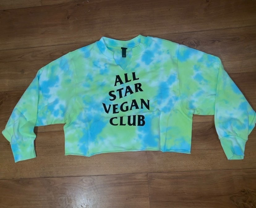 All Star vegan club Women's tie dye split neck cropped sweatshirt green/teal - AllStarVegans