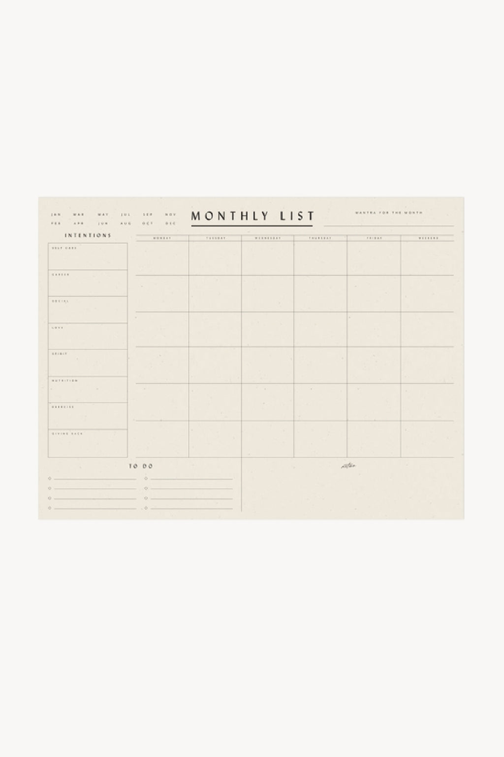 Monthly List Planner