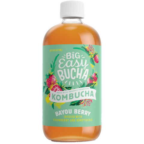Big Easy Kombucha Big Easy Bucha Organic Kombucha Bayou Berry, 16 Ounce, (Pack Of 6)