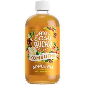 Big Easy Kombucha Bucha, Organic Kombucha, Apple Pie, 16 oz, (Pack of 6)