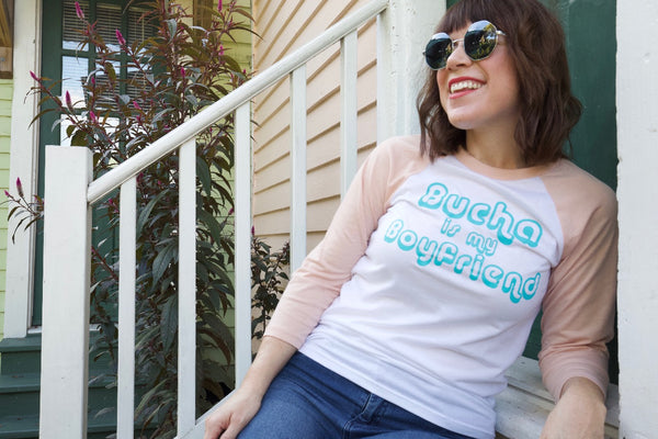 "Unisex ""Bucha is my Boyfriend"" Retro Baseball Tee"