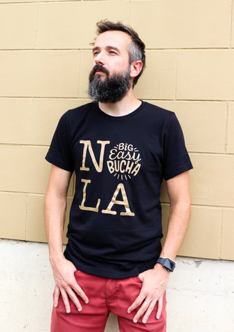 Black & Gold Big Easy Bucha NOLA T-Shirt