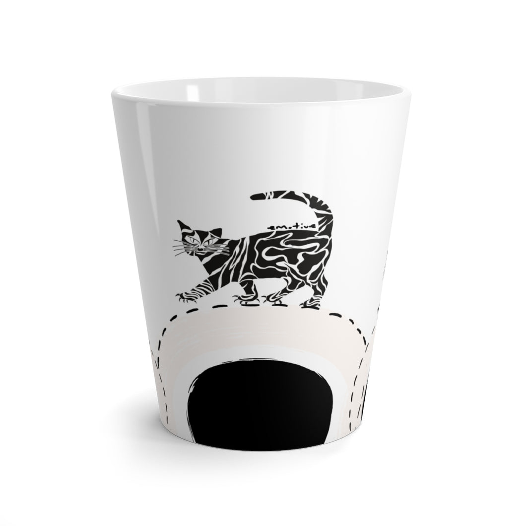 Serious Cat Mug in Light Pink