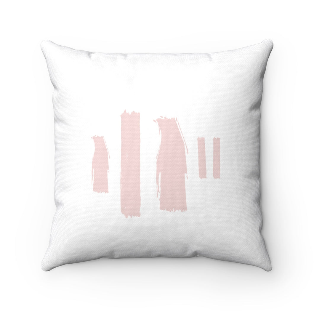 Pink Paint Strokes Square Pillow