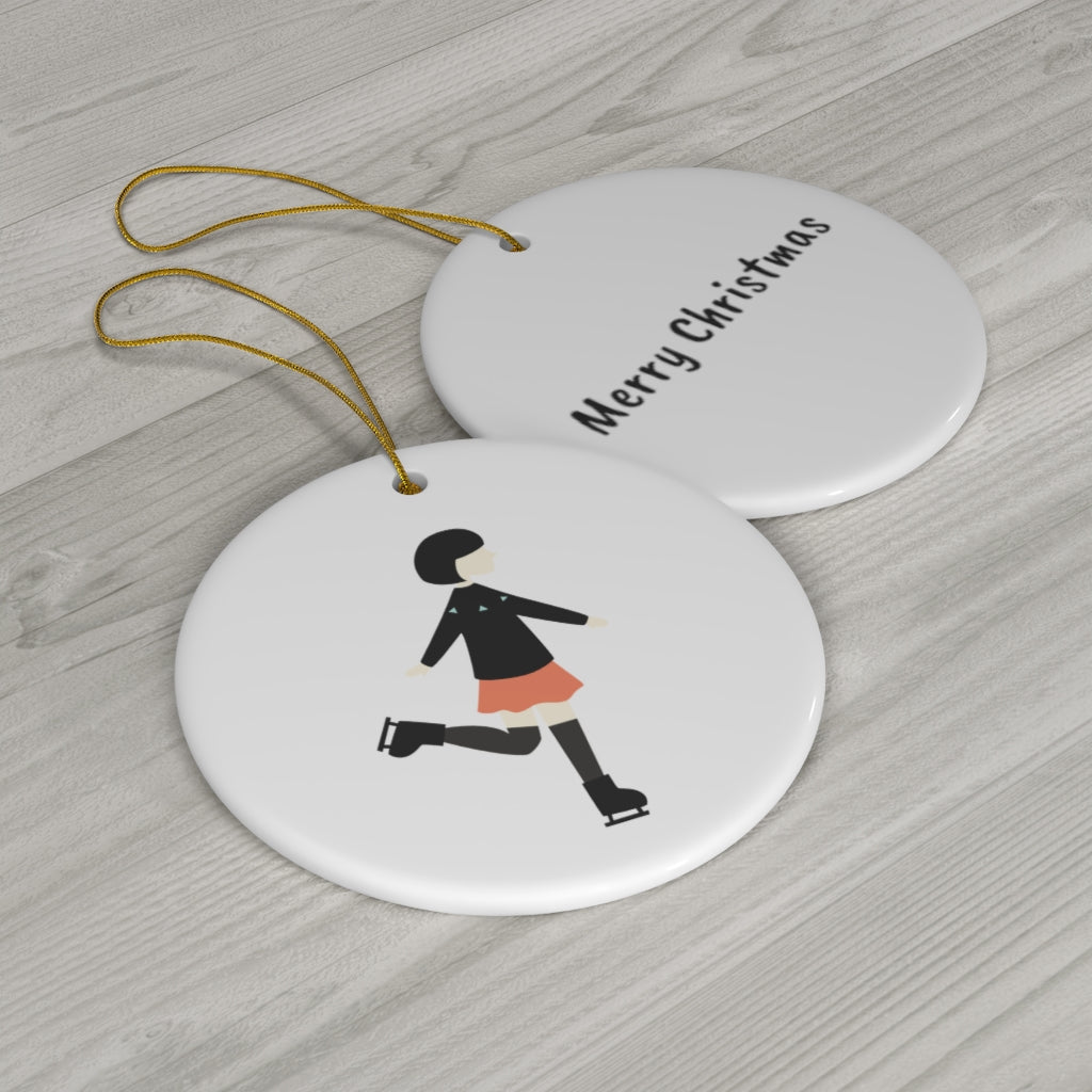 Reversible Skater Girl Christmas Ornament