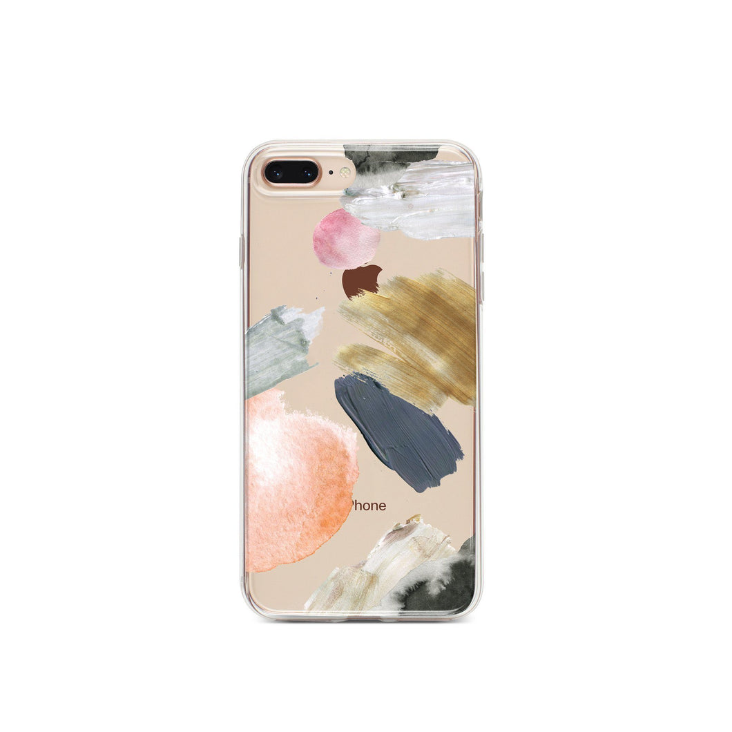 Clear Paint-Stroke Phone Case