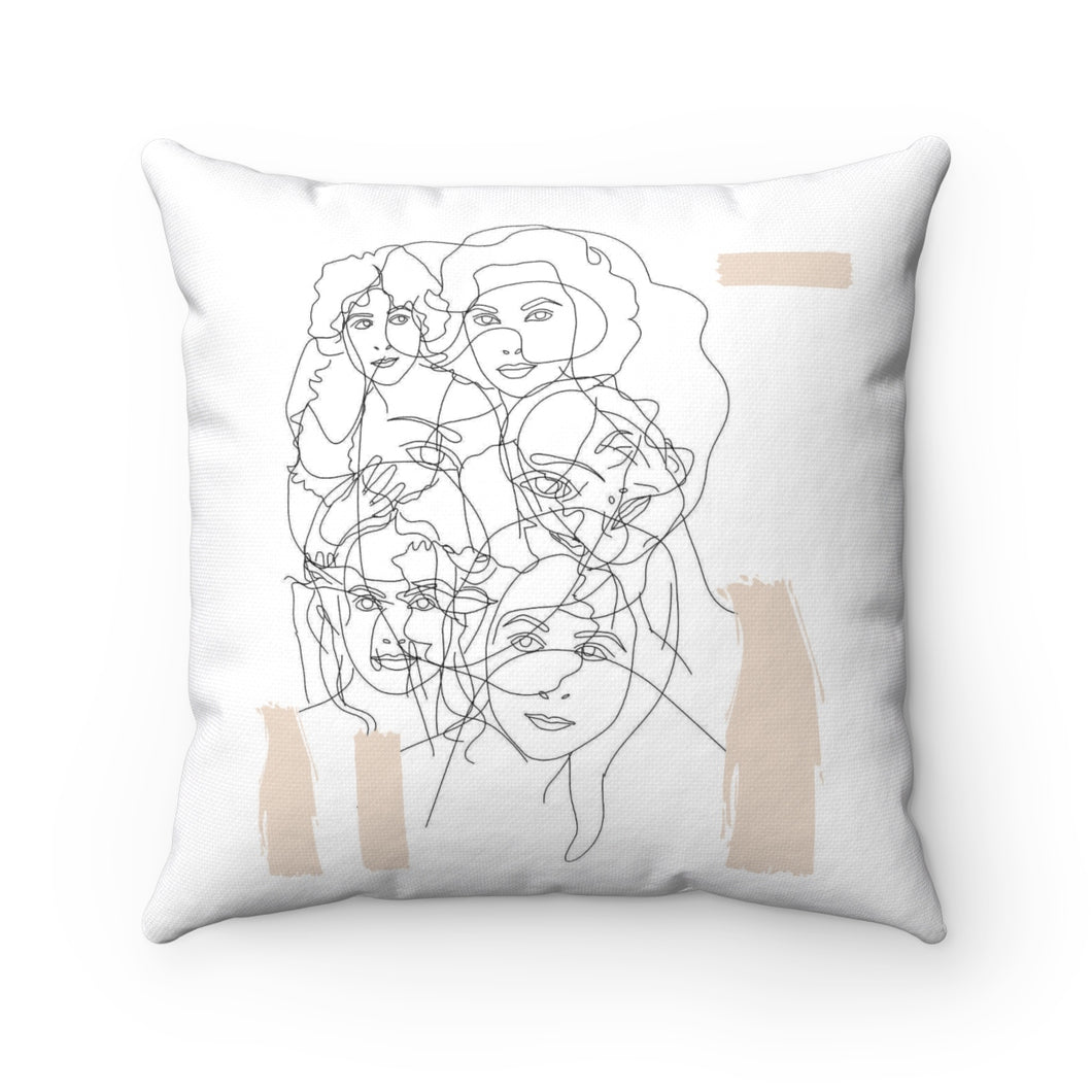 Interconnected Beige Square Pillow