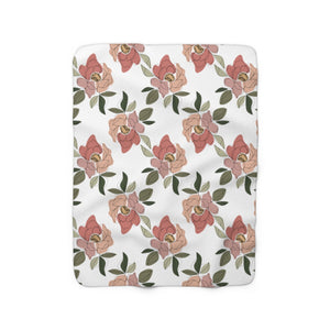 Floral Pattern Sherpa Fleece Blanket