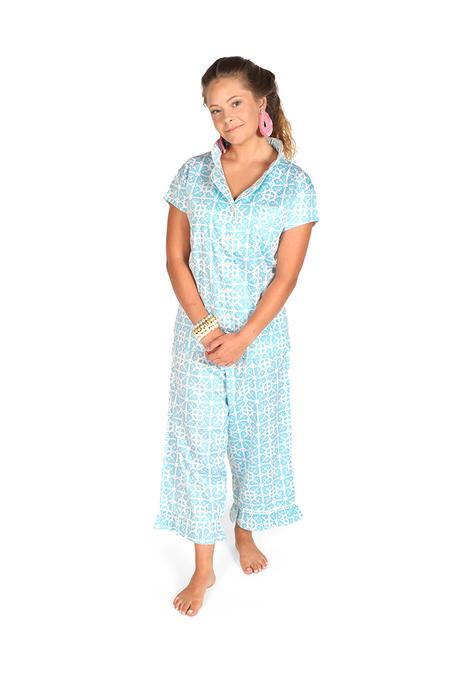 Garden Gate Sateen Capri Pajama Set