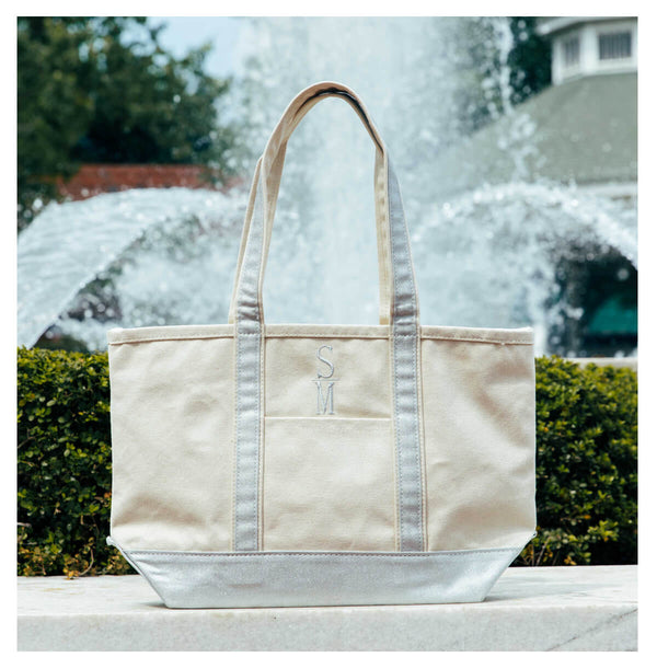 Personalized Metallic Trimmed Tote Bag