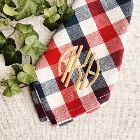 Red, White and Blue Plaid Dinner Napkins