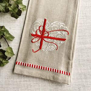 Embroidered Valentine Present Kitchen Towel