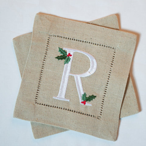 Holly Initial Cocktail Napkins
