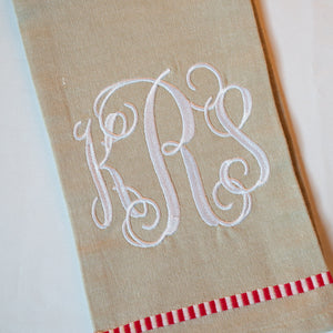 Monogram Stripe Kitchen Towel