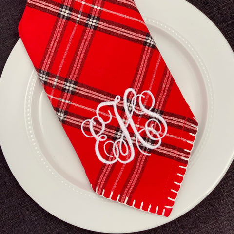 Red Plaid Dinner Napkin