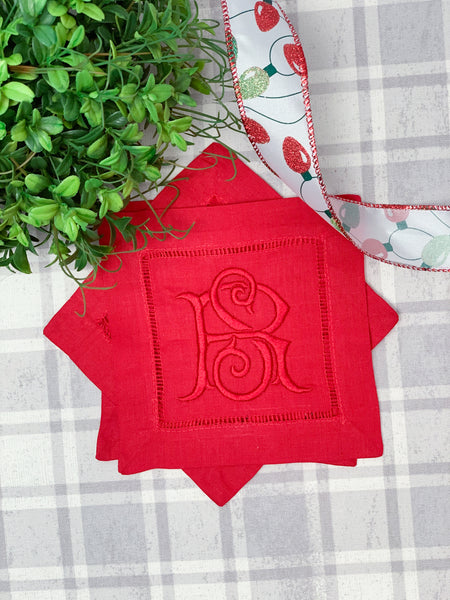 Red Holiday Cocktail Napkin