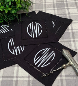 Black Linen Cocktail Napkin