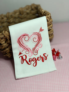Embroidery Valentine Tea Towel with Monogram