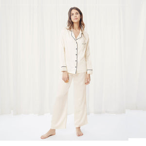 Claudia Pyjama Shirt and Trouser Set Black or Cream