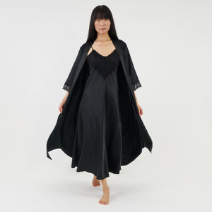 long satin dressing gown with elbow length sleeves