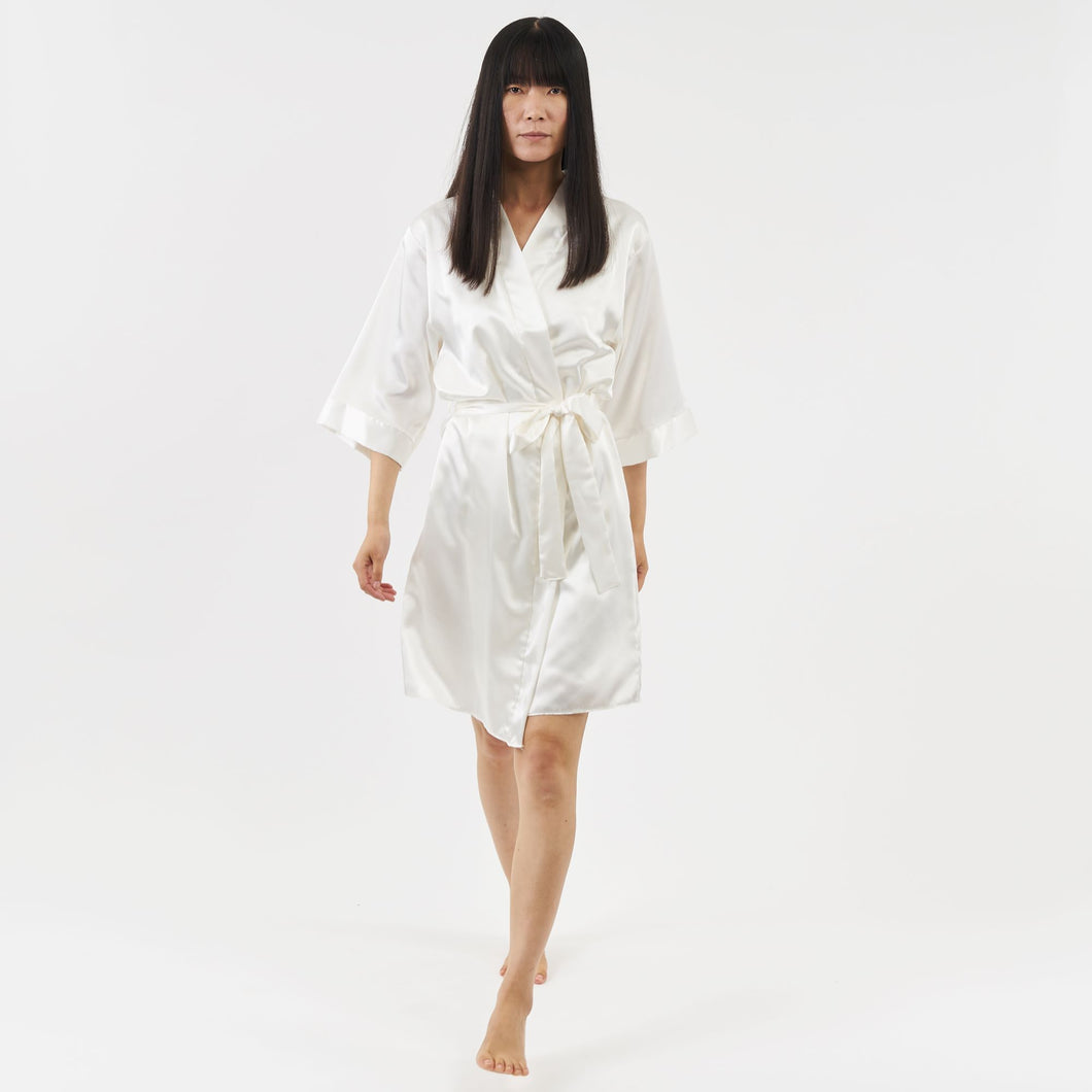 belted short satin dressing gown - ivory