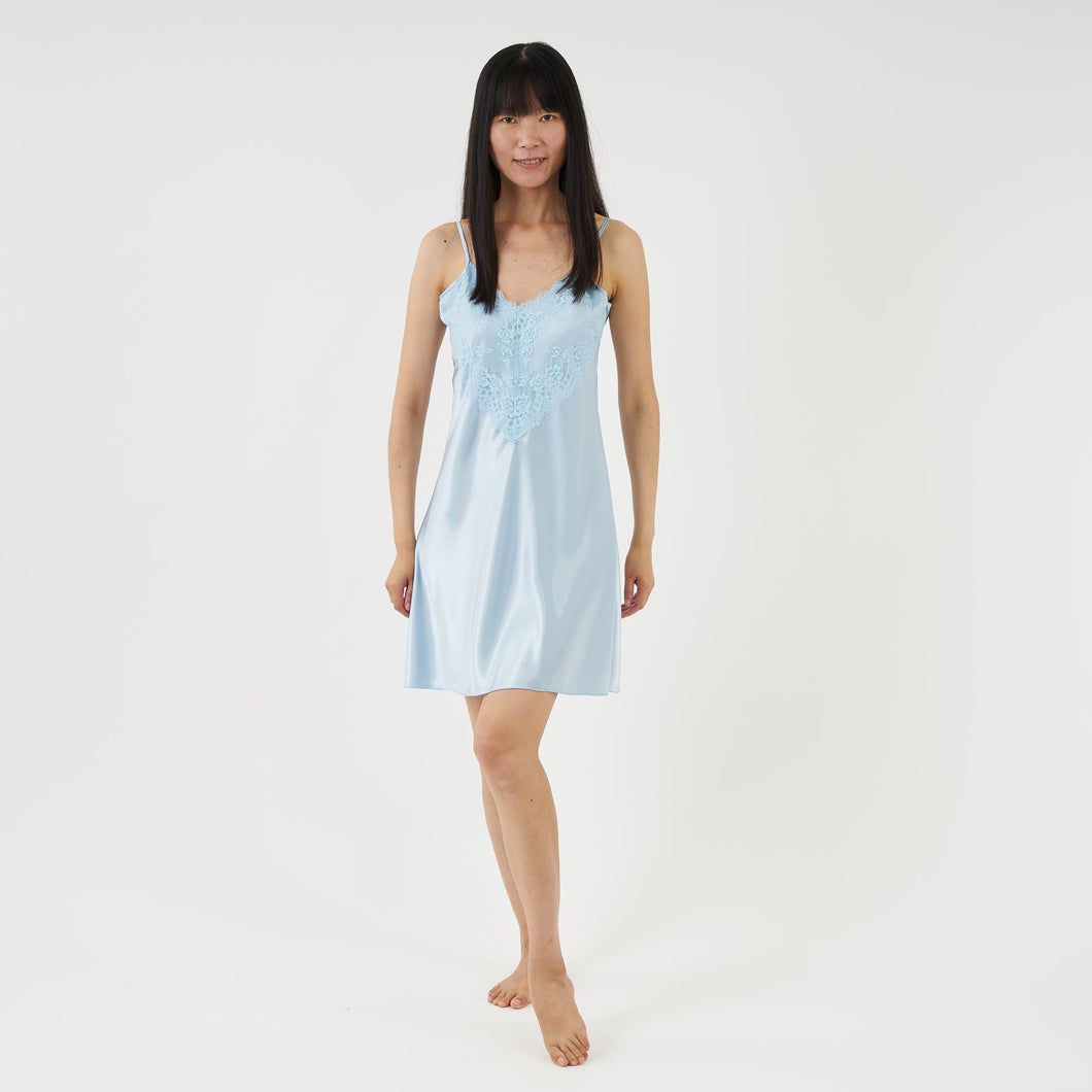 luxury satin nightie with lace - powder blue