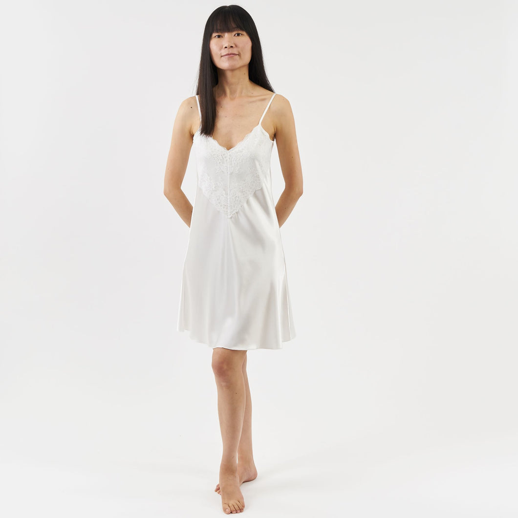 luxury satin nightie with lace - ivory