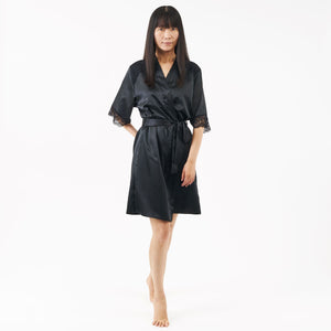 short satin dressing gown with elbow length sleeves - black